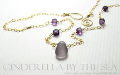 Rare Amethyst Genuine Sea Glass - combined with semi-precious Fluorite in beautiful purple with a hint of green. A flawless droplet of beautiful genuine amethyst sea glass from California. www.etsy.com/shop/CinderellaBytheSea Nj Shore, Glass Photo, Sea Glass Jewelry, Timeless Beauty, Cubes, Precious Metals, Cinderella, Addiction, Amethyst