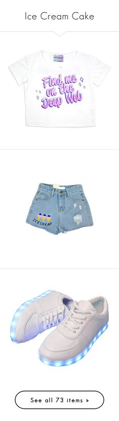 """""""Ice Cream Cake"""" by gorebandit ❤ liked on Polyvore featuring food, tops, t-shirts, white crop tee, crop tee, white crop t shirt, white tee, crop t shirt, shorts and bottoms"""