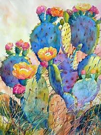CACTUS DELIGHT by Mary Shepard Watercolor ~ image size: 29 x 21 unframed art garden indoor plants Cactus Painting, Watercolor Cactus, Cactus Art, Painting & Drawing, Cactus Flower, Succulents Painting, Succulents Art, Flowering Succulents, Cactus Drawing