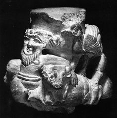 Limestone cup from Uruk: Ht 12.7 cm. 3,100-3,000 BCE, Uruk in Southern Iraq (Photo from pg. 53 of D. Collon's 1995 Ancient Near Eastern Art).