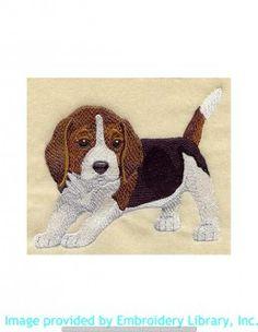 Stickmotiv Stickbild Aufnäher Stickerei Emblem Beagle  Beagle /  Stickerei Beagle Puppy (I1274)
