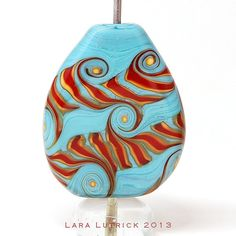 Turquoise Red and  Yellow Lampwork Glass Focal Bead by Lutrick, $20.00