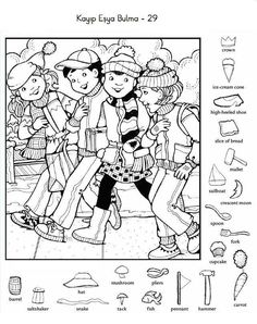 (2018-08) Find 21 detaljer Hidden Picture Games, Hidden Picture Puzzles, Colouring Pages, Coloring Sheets, Kindergarten Activities, Activities For Kids, Hidden Pictures Printables, Highlights Hidden Pictures, Hidden Figures