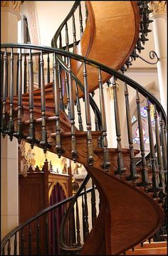 Santa Fe, New Mexico.Tiny Loretto Chapel was completed in 1878 by French and Spanish artisans and modeled after Sainte Chapelle in Paris. Inside you will find this miraculous spiral staircase. It stands 20 feet tall, has two 360-degree turns and no center support. The type of wood used to construct it is still a mystery, and it's constructed solely with square wooden pegs. No glue or metal nails were used. It's a miracle as to why it's still standing.