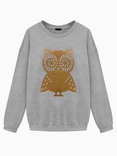 Owl Print Oversized Sweatshirt In Gray - Choies.com
