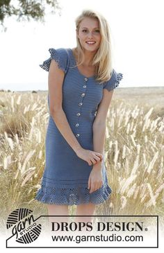 "Crochet DROPS dress with buttons at the front and flounce in ""Safran"". Size S-XXXL Free pattern by DROPS Design."