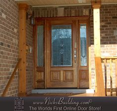 Front Porch with a Golden Oak Stain on a Mahogany Door- The N-250 Door with N-75 Sidelites & Builder Zinc Glass From www.nicksbuilding.com