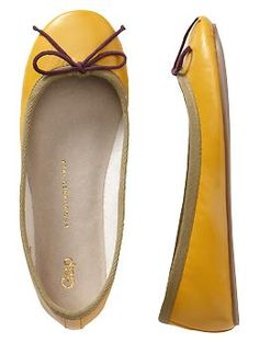 in store they have cognac with yelllow ties..I want those! Leather ballet flats | Gap