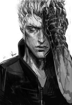 Vergil warm-up before commissions. Character Concept, Character Art, Character Design, Devil May Cry, Dark Fantasy Art, Dark Art, Final Fantasy, Rpg Cyberpunk, Vergil Dmc