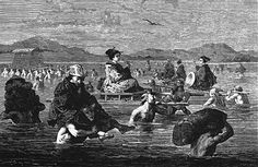 外国人が記録した渡し風景 「E・バヤール」が参考にしたと思われるのは 豊原国周の「大井川徒行渡図」万延元年(1860)