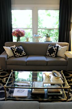 table behind couch & couch under the window | mint love social club: {new sofa console table}