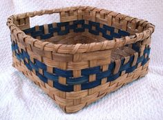 Handwoven Muffin Basket in Blue by basketsbyrose on Etsy, $25.00