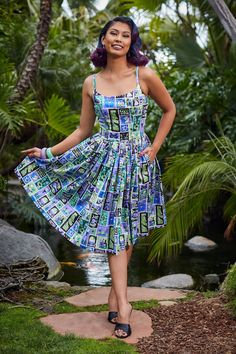 Pinup Couture Jenny Dress in Tiki Tiles Print