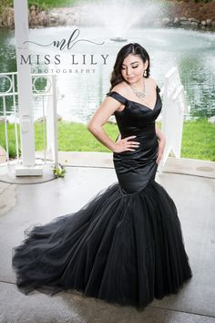 Gorgeous black satin prom dress image by Lily Angiolini of Miss Lily Photography taken at Central Michigan University's botanical garden.