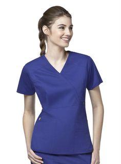 Mock Wrap Multi-Pocket Scrub by WonderWink Utility Girl Stretch. Spa Uniform, Scrub Shop, Enjoying The Sun, Princess Seam, Looks Great, Hot Pink, Dresses For Work, T Shirts For Women, How To Wear