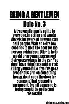 Being a Gentlemen: Rule No. 3