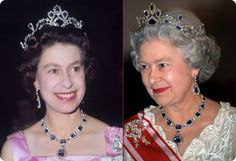 GEORGE VI VICTORIAN SUITE TIARA    Sapphire Suite Tiara was gifted to Queen Elizabeth II by her father, King George VI, on her marriage in 1947. It consisted of a jewelry set, including a magnificent necklace and earrings composed of blue sapphires halo surrounded by diamonds.
