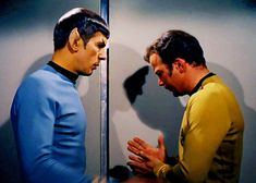 animated! itreallyisthelittlethings:    This will always be my favorite gif from TOS.  It's like the perfect visualrepresentationof text vs subtext.  Text:SpockcomfortingKirk andlovelyeye contact.  Subtext: Look at their shadows!