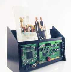 Techie magazine rack decorated with computer parts. by OfficeDeco, $17.00