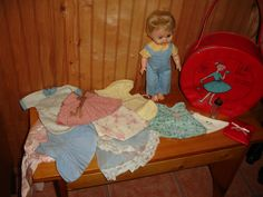 Vintage 1960's Doll cute with Clothing outfits & Evenflo baby bottle ( Salesman Sample )