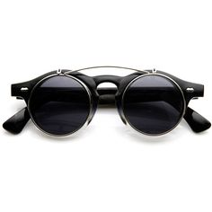 5f49aa51f3a Small Round Circle Retro Steampunk Flip-Up Sunglasses ( 10) ❤ liked on  Polyvore featuring accessories