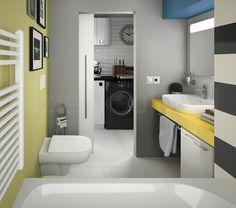 Szara łazienka z mocnym, żółtym akcentem. Projekt od firmy Koło.