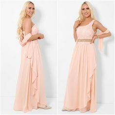 Peach Embellished One Shoulder Chiffon Maxi Dress Prom Size 8 10 Padded Bust NEW #Unbranded #BallgownPromDress #SpecialOccasion