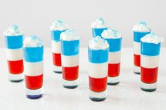 Red, White & Blue Jello  17 Red, White + Blue Recipes That Will Make You See Fireworks via Brit + Co.