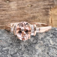 Rose Gold Marropino Morganite and Diamond Ring