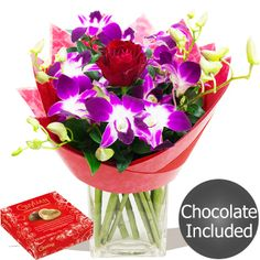 Cupid Bouquet of Sprays of exotic Dendrobium Orchids arranged, simply wrapped and packed with a single red Rose for with FREE chocolates! Single Red Rose, Dendrobium Orchids, Gifts Delivered, Flowers Delivered, Sprays, Cupid, Chocolates, Red Roses, Valentines Day