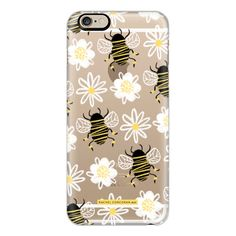 iPhone 6 Plus/6/5/5s/5c Case - Cute Honey Bee Daisy Flower Nature... (265 DKK) ❤ liked on Polyvore featuring accessories, tech accessories, phone cases, phones, case, iphone, iphone case, iphone cover case, black and white iphone case and slim iphone case