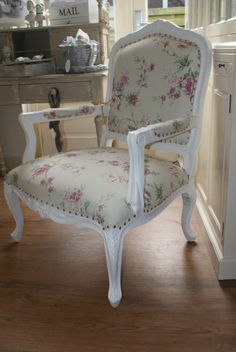 Fauteuil with flower fabric, armchair, louis xv style