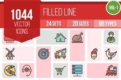 1000+ Filled Line Icons by IconBunny on @creativemarket