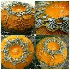 Pumpkin art carving by Bulgarian artist Angel Boraliev, A.B.carving