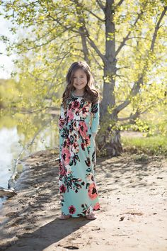 Mint Floral 3/4 Sleeve Maxi Dress, Dress, Maxi, Sleeve Dress, Floral Dress, Ryleigh Rue Clothing, online shopping, Online Boutique, Boutique, Fashion, Style, Cute, Kids Boutique
