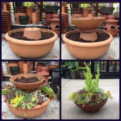 homemade double level container garden for succulents or small plants on patio, terra cotta bowls and pots