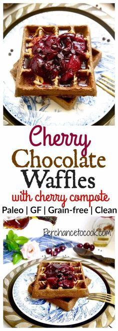 Cherry Chocolate Waffles with Cherry Compote {Paleo, GF} | Perchance to Cook, www.perchancetocook.com
