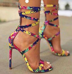0064c0c001 Trendy High Heels For Ladies   Picture Description Liliana Bright Floral  Print Strappy Wrap-Around Tie-Up Stiletto Heel