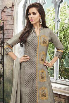Picture of Mature grey suit with yellow detailing Dress Neck Designs, Kurti Neck Designs, Kurta Designs Women, Stylish Dress Designs, Stylish Dresses, Blouse Designs, Beautiful Pakistani Dresses, Pakistani Dress Design, Fancy Kurti