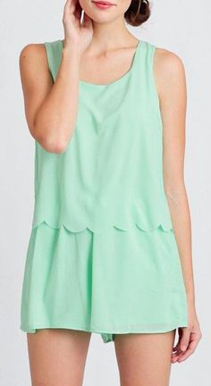 Mint Creme Scalloped Romper