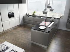 suelo madera cocina forma u moderna ideas