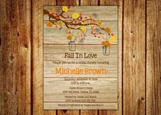 Wood Grain Fall in Love Bridal Shower Invitation- Digital File- DIY Printable --- Wedding, Baby Shower, Birthday Fall In Love Bridal Shower, Baby Shower Fall, Fall Baby, Wedding Invitation Design, Bridal Shower Invitations, Couple Shower, Digital Invitations, Autumn Theme, Fall Wedding
