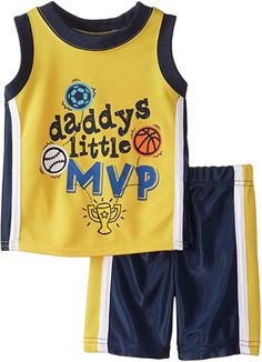 Boyzwear Baby Boys 2 Piece Daddys Little Mvp Tee and Short Set Yellow 12 Months *** Be sure to check out this awesome product. Funky Baby Clothes, Kids Clothes Boys, Little Boy Outfits, Baby Boy Outfits, Baby Boy Suit, Baby Boys, Toddler Boys, Baby Suit Design, Kids Suits