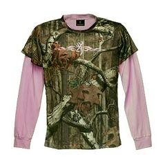 Pink Camouflage Clothing for Women | Browning Women's 2-Fer Infinity Camo Pink T-Shirt - Polyvore