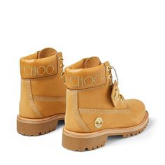 Wheat Nubuck Leather Boots with Gold Glitter | JC X TIMBERLAND/F | JIMMY CHOO X TIMBERLAND | JIMMY CHOO Jordan Shoes Girls, Girls Shoes, Baby Shoes, Timberland Classic, Timberland Boots, Calf Leather, Leather Boots, Jimmy Choo, Next Shoes