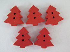Wood Buttons  Tree Buttons  5 pieces  15mm  Orange by HazalsBazaar