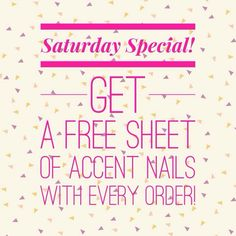 Every Saturday -- Automatically sent out from my own stash when you take advantage of this deal ... Jamberry nail wraps are Buy 3, Get 1 free! Makes it easy to spoil yourself.