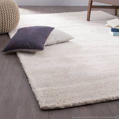 Tapis shaggy polypro-polyester effet soyeux Tender Ecru, 160x230cm