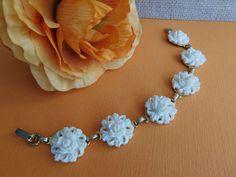 VINTAGE 50s estate carved white ROSE flower celluloid Lucite link Bracelet #link