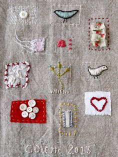 Small art quilt embroidered stitched cloth by ColetteCopeland